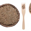 Rye in a plate, fork and spoon — Stock Photo