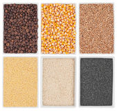 Coffee, corn, wheat, poppy, sesame, millet in a of ceramic plate — Stock Photo