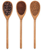 Three spoons freshly ground coffee, beans, granular — Stock Photo