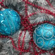 Two blue Christmas balls  — Stockfoto