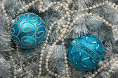 Two blue Christmas balls — 图库照片