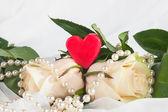 Colar de coração, rosa — Fotografia Stock