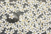 Background of white flowers and black stone in the water — Stock Photo