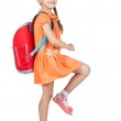Baby girl with backpack goes to school — Stock Photo #48383833