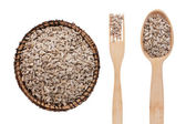 Sunflower seeds in a plate, fork and spoon — Photo