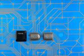 Keypad home on blue background  — Stock Photo