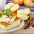 Stock Photo: Cottage cheese and apple pie