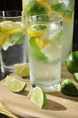 Cold lemonade in glass — Stock Photo