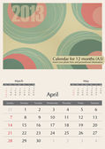 April. 2013 Calendar. — Vettoriale Stock