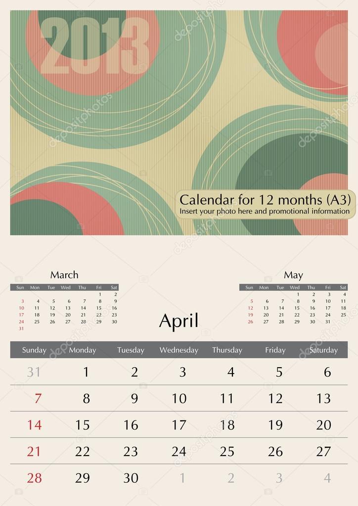 April Calendar Illustration : April calendar — stock vector tashka
