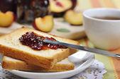 Plum jam with toast — Stock Photo