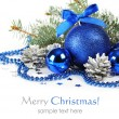 Blue christmas decorations — Stock fotografie