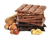 Assorted chocolate with nuts — Stock Photo