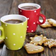Hot chocolate and gingerbread cookies — Stock Photo