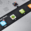 Stock Photo: Social MediApplications on Ipad