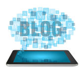 Tablet PC with blogging concept — Stock Photo