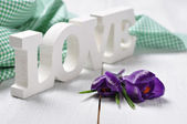 "Word ""love and crocus flowers — Stock Photo"