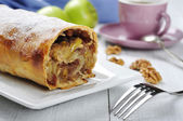 Apple strudel on a dish — Stock Photo