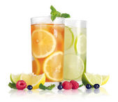 Drink with lemon, lime and mint — Stock Photo