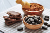 Cocoa beans and cocoa powder — Stock Photo