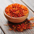 Stock Photo: Saffron in wooden bowl