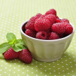 Stock Photo: Bowl of fresh raspberry