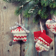 Christmas knitted decoration — Stock Photo