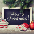 Framed blackboard with Christmas decoration — Stock Photo