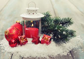 Christmas decoration with candle — Foto Stock