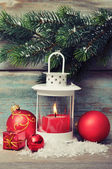Christmas decoration with candle — Stock fotografie