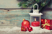 Christmas decoration with candle — Stok fotoğraf