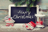 Christmas knitted decoration with candle — Foto Stock