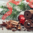 Christmas decorations  with  spices — Foto de Stock