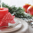 Christmas table setting — Stok fotoğraf