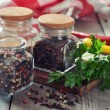 Spices in glass bottles — Stockfoto #34279697
