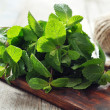 Stock Photo: Green mint leaves