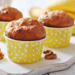 Banana muffins in paper cupcake case — Stock Photo