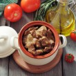 Goulash in a ceramic pot — Stock Photo