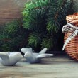 Christmas decoration in shape of birds — Stock Photo