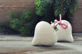 Christmas decoration with red bow — Stock Photo