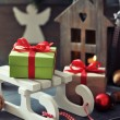 Sled toy with gift boxes — Stock Photo