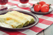 Cannelloni stuffed with spinach — Stock Photo