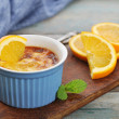 The creme brulee with orange — Stock Photo