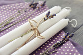Candles with dry lavender — Stockfoto