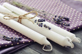 Candles with dry lavender — Stock Photo