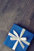 Blue elegant gift box — Stock Photo
