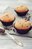 Muffins with chocolate — Stock Photo