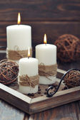 Candles on  vintage tray — Stock Photo