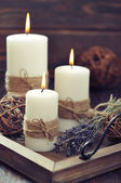 Candles with lavender — Stock fotografie