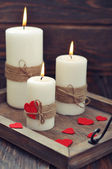 Candles with fabric hearts — Foto de Stock